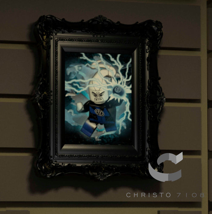 Christo Custom Fine Art Brick Painting  - Blue Lantern - LIMITED EDITION