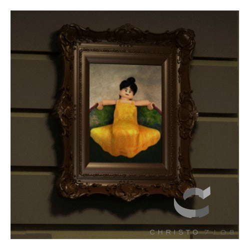 Christo Custom Fine Art Brick Painting  - Brick Chick in Yellow Dress Painting - LIMITED EDITION