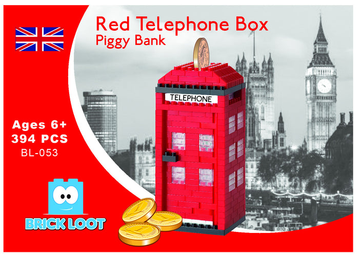 Red Telephone Box Piggy Bank Nano Sized Bricks fits Nanoblock