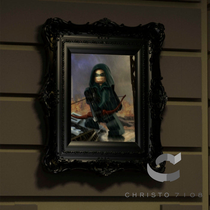 Christo Custom Fine Art Brick Painting  - Green Arrow - LIMITED EDITION