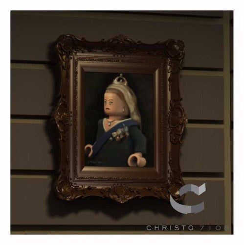 Christo Custom Fine Art Brick Painting  - Queen Bricktoria Painting - LIMITED EDITION