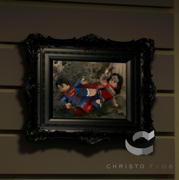 Christo Custom Fine Art Brick Painting  - Superman and Wonder Woman - LIMITED EDITION