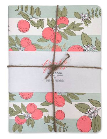 fruit & flowers trio notebooks set wrapped with twine. A collaboration with Chronicle Books, illustrated by Hartland Brooklyn