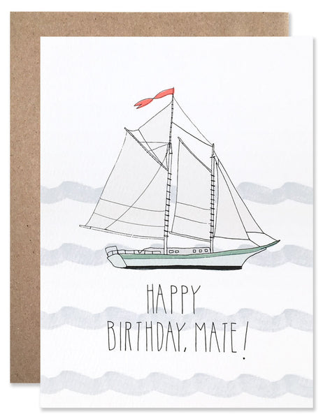 Blue gray wave squiggles with a blue schooner with Happy Birthday Mate written below. Illustrated by Hartland Brooklyn.