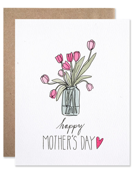 Mason jar of pink tulips with Happy Mother's Day written underneath it. Illustrated by Hartland Brooklyn.