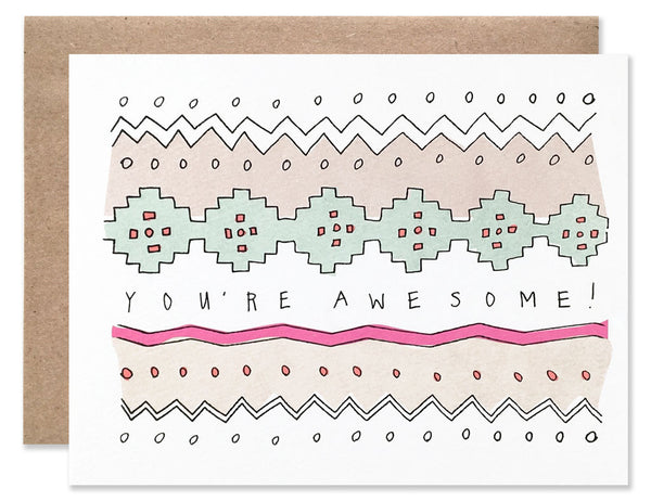 Abstract embroidered pattern in pinks, greens and peachy tones with You're Awesome written in the center. Illustrated by Hartland Brooklyn.