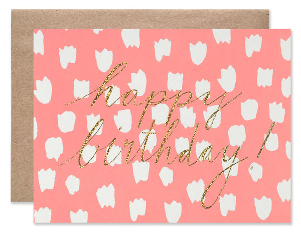neon pink background with white dots and gold glitter Happy Birthday foil by Hartland Brooklyn