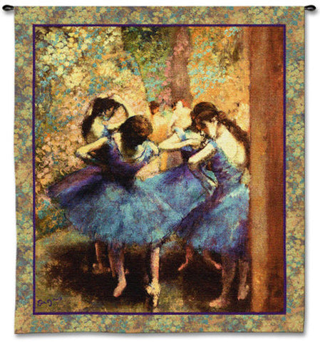 Edgar Degas© Dancers In Blue Wall Tapestry -