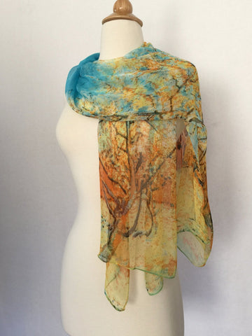 Van Gogh Trees Scarf - Blue/Gold/Orange/Brown