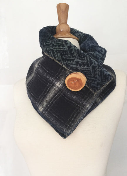 Lumber Jack Blue Plaid UpCycled Neckwarmer One-of-a-Kind -   - 2