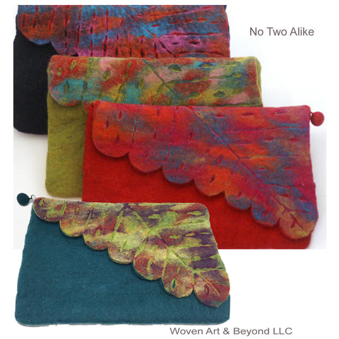 Nuno Felted Wool Leaf Clutch Bag One-Of-A-Kind Handmade|Teal, Black, Red, Lime
