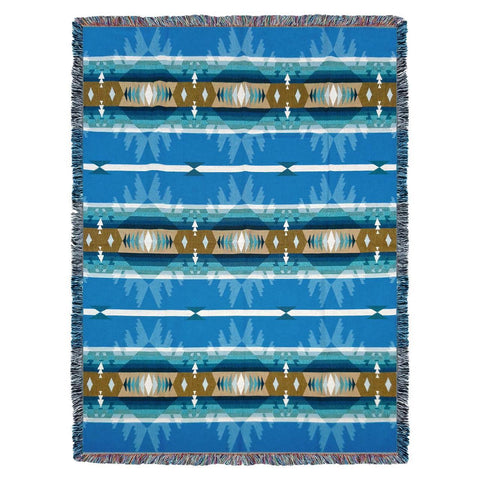 Southwest Cimarron Turquoise Woven Cotton Throw Blanket