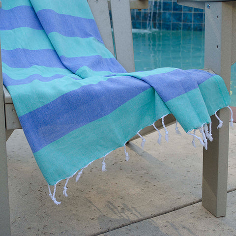 Clotho Turkish Cotton Towel - Green Blue