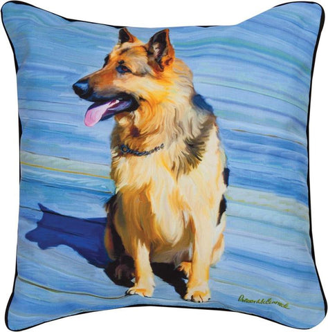 Big Shutz German Shepherd Pillow by Robert McClintock -