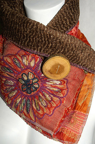 Flower Burst Upcycled Neckwarmer - One-of-a-Kind -   - 1