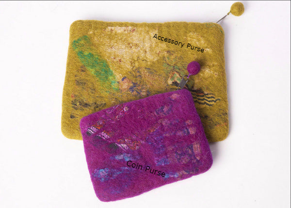 Nuno Felted Wool Sari Collage Coin Purse One-Of-A-Kind Handmade -   - 2