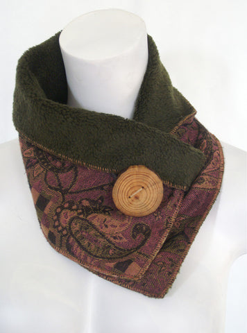 Plum Paisley Upcycled Neckwarmer - One-of-a-Kind