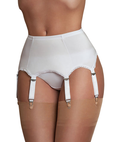 Six Strap Suspender Belt with Plain Panels