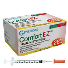 "Clever Choice Comfort EZ Insulin Syringes - 28G U-100 1/2 cc 1/2"" - BX 100"
