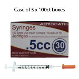 "Case of 5 Advocate Insulin Syringes - 30G 1/2cc 5/16""- BX 100"
