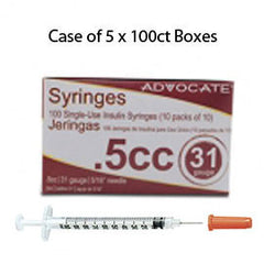 "Case of 5 Advocate Insulin Syringes - 31G 1/2cc 5/16""- BX 100"