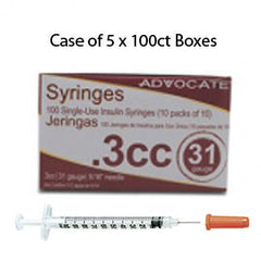 "Case of 5 Advocate Insulin Syringes - 31G 3/10cc 5/16""- BX 100"