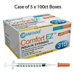 "Case of 5 Clever Choice Comfort EZ Insulin Syringes - 31G U-100 3/10 cc 5/16"" - BX 100"