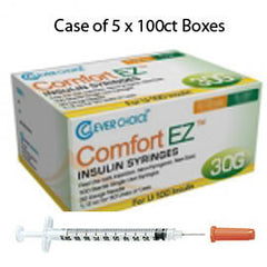 "Case of 5 Clever Choice Comfort EZ Insulin Syringes - 30G U-100 3/10 cc 5/16"" - BX 100"