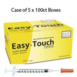 "Case of 5 EasyTouch Insulin Syringe - 31G .5cc 5/16"" - BX 100"