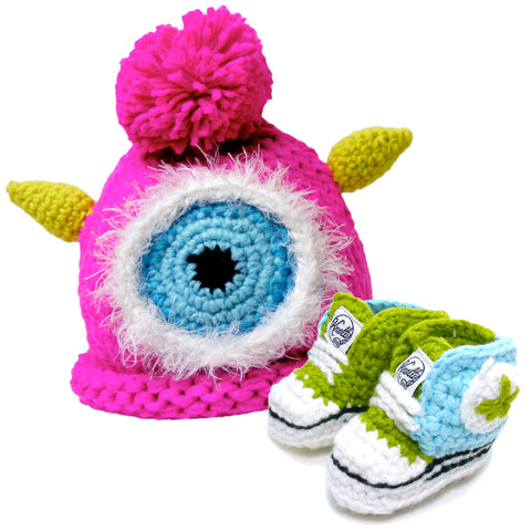 Knotty Kid - Crocheted Baby Booty Slippers Sneakers and Matching Knitted Baby Hat Pink