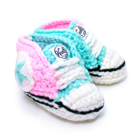 Knotty Kid - Crocheted Baby Booty Slippers Chuck Taylors Sneakers Pink Blue