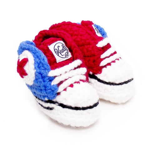 Knotty Kid - Crocheted Baby Booty Slippers Chuck Taylors Sneakers Red Blue