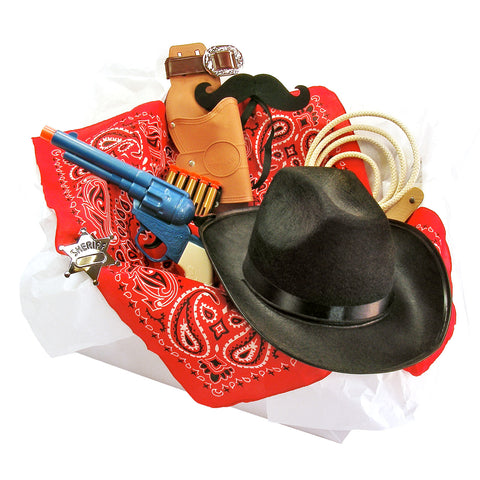 Knotty Kid - Childrens Cowboy Costume Box with Felt Mustache Hat Holster and Accessories