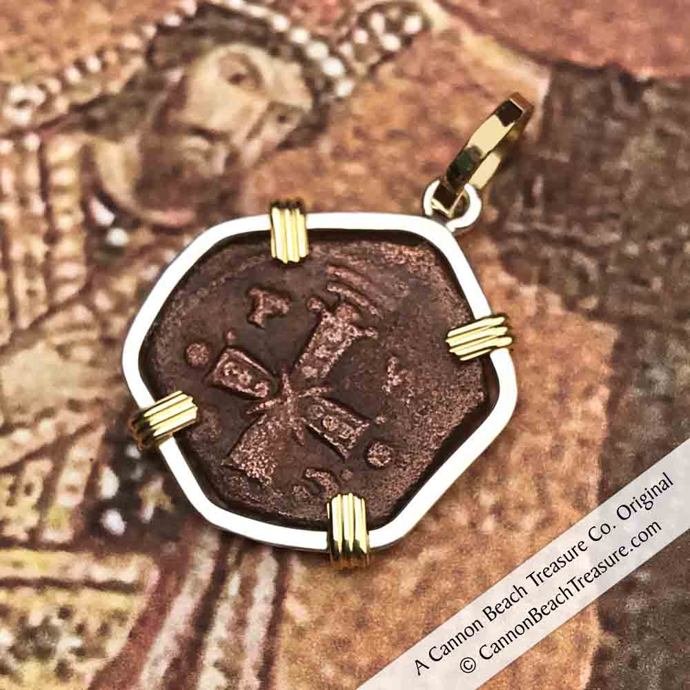 Byzantine Bronze Cross of Christ Coin Necklace in 18K Gold and Sterling Silver | Artifact #3217