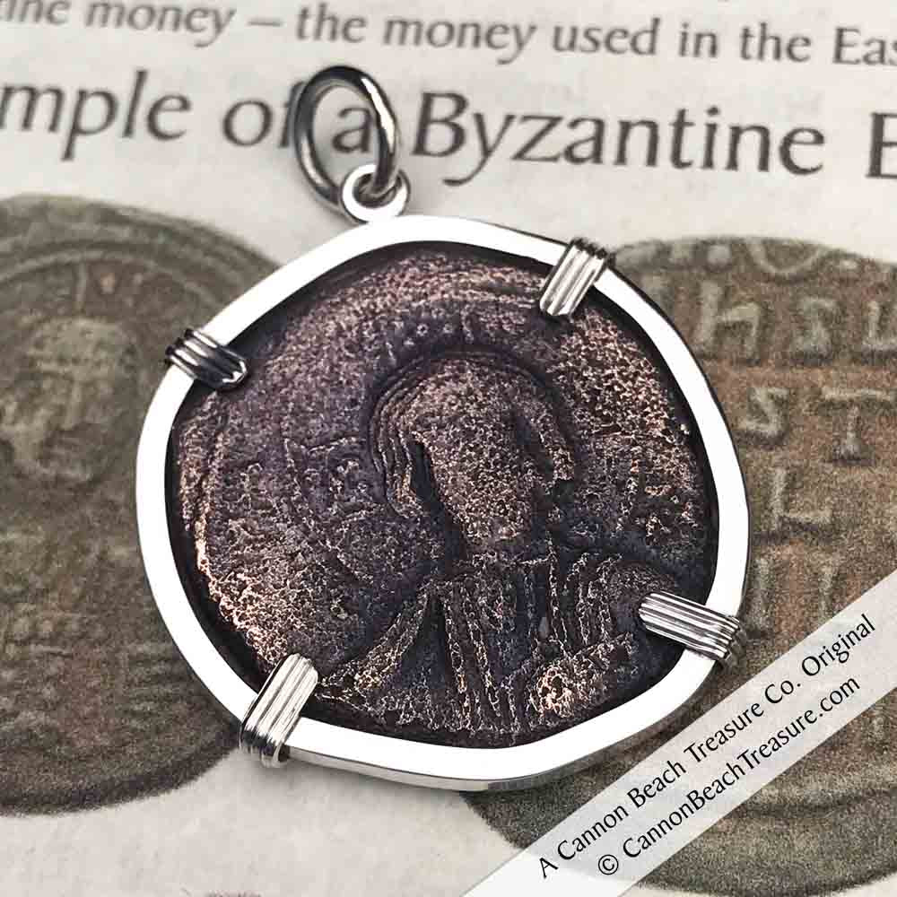 Byzantine Bronze Follis Pendant - Jesus Christ, King of Kings | Artifact #3216