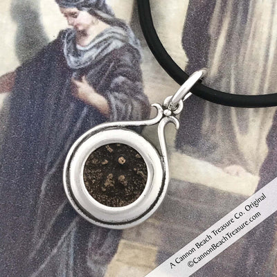 Biblical Widow's Mite Antiqued Sterling Silver Pendant