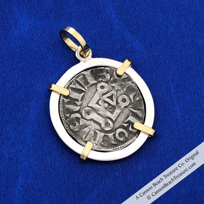 The Cross & Cathedral Silver French Coin of the Crusades 18K Gold & Sterling Pendant