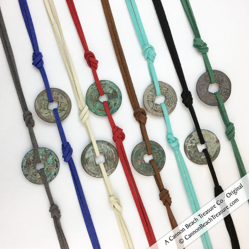 Chinese Bronze 1 Cash Treasure Coin Wrap Bracelets Necklaces in Bright and Classic Colors