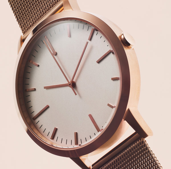 Rose gold 30mm unbranded simple watch with 15mm milanese mesh band - freedom to exist