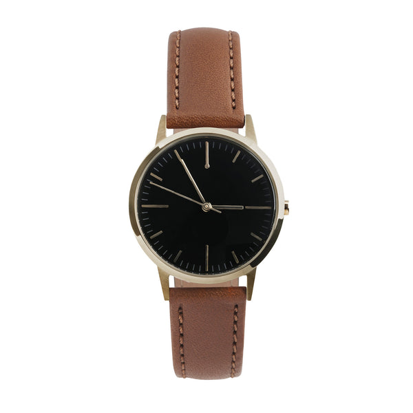 Gold, Black Dial & Tan Leather Watch - Womens / Ladies Minimalist Vintage Watch / Under £100
