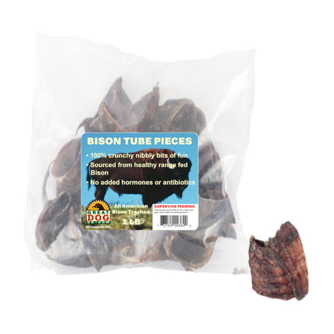 GREAT DOG Bison Tube Pieces - 1 Pound Bag (Sourced & Made in USA)