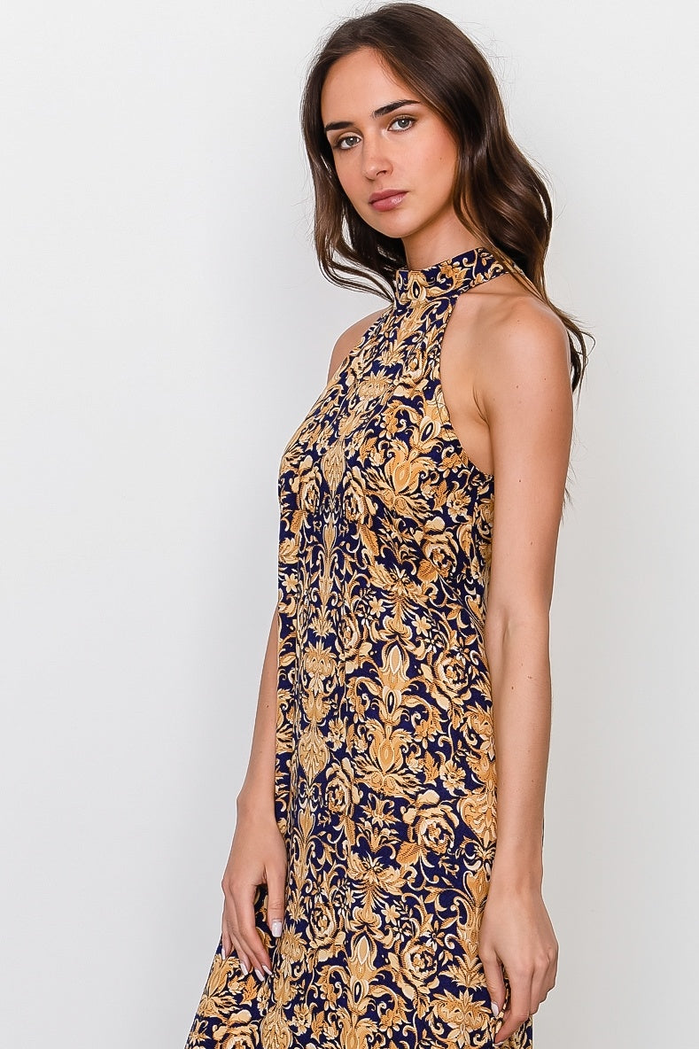 Gold print sleeveless high neckline maxi dress