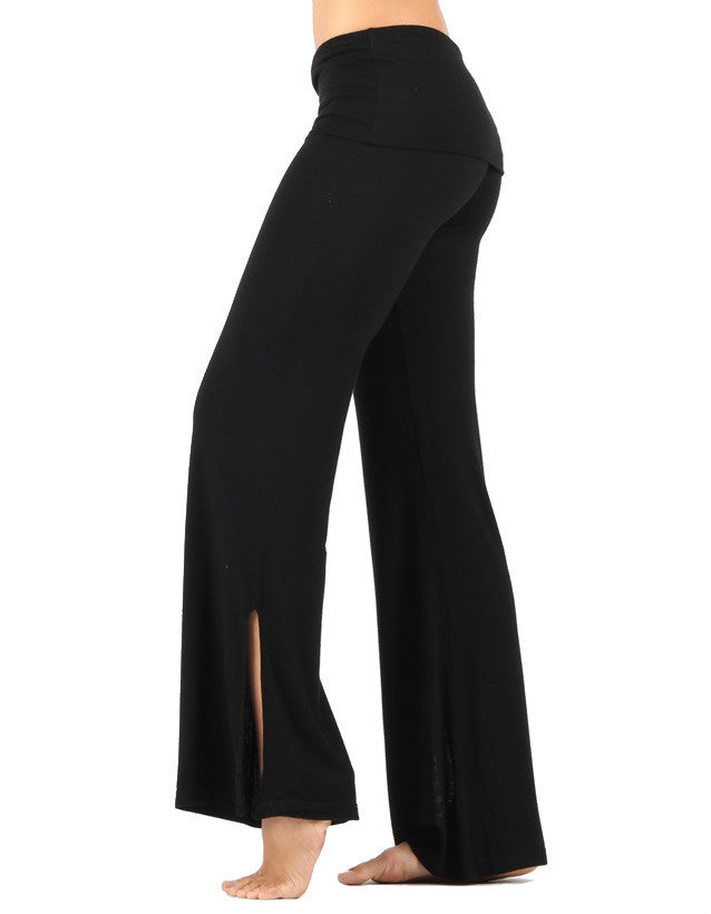 bamboo foldover black palazzo pants tie ankle black-cat