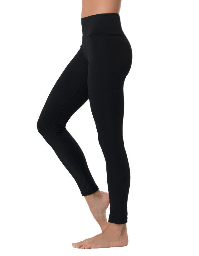 organic cotton long yoga legging black