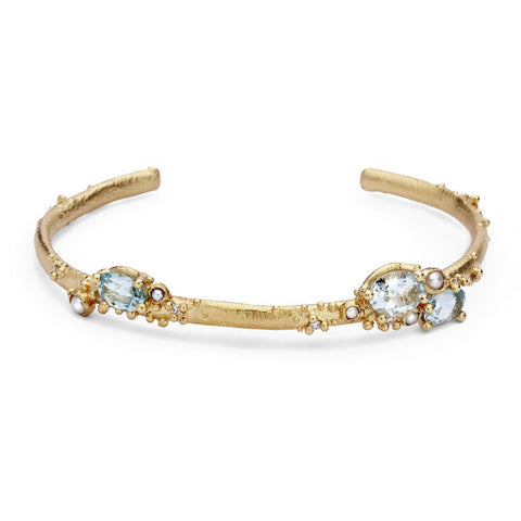 Aquamarine, pearl and diamond cuff from Ruth Tomlinson, handmade in London