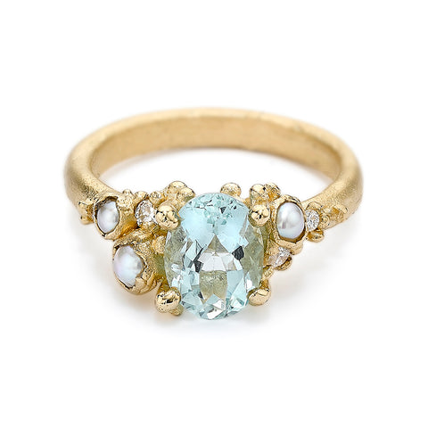Aquamarine and Pearl Ring from Ruth Tomlinson, handmade in London