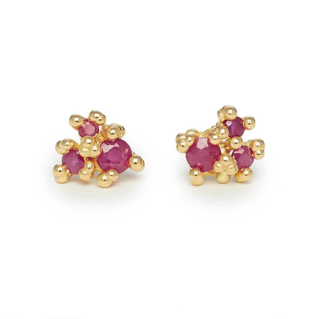 Ruby cluster earrings from Ruth Tomlinson, handmade in London
