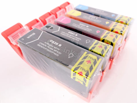 1 FULL SET Compatible CANON PGI-520BK&CLI-521BK/C/M/Y Ink Cartridges (CHIPPED+INK LEVEL)