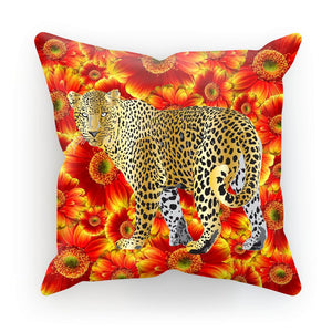 Gold Leopard on Red Flowers Gift Cushion