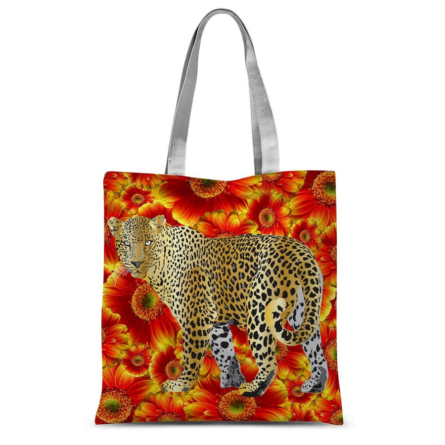 Gold Leopard on Red Flowers Sublimation Tote Bag